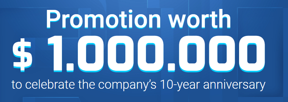 Receive up to $1000,000 to Join 10th Anniversary of RoboForex