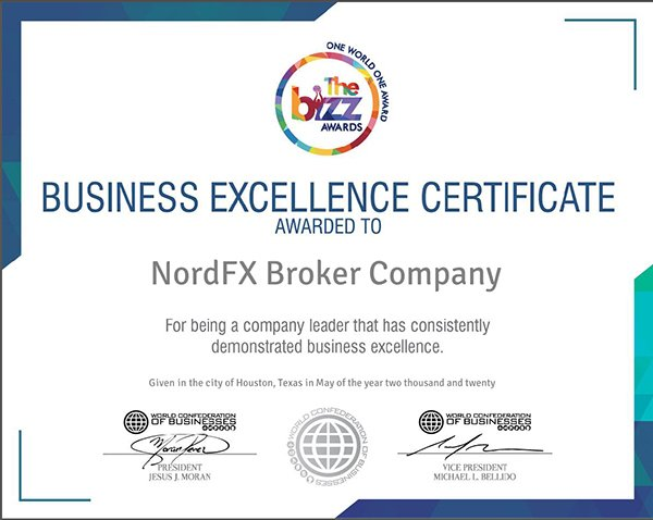NordFX Broker Presents with World Business Excellence Award